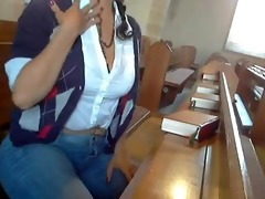 mysterious woman masturbates in the church