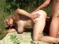 large tit granny fucking outdoors