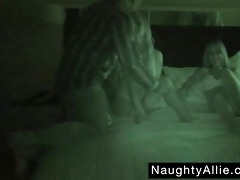 foursome on night vision livecam - wife swapping