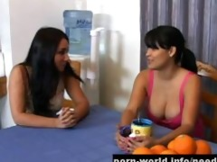 breasty latin babe and ally share shlong for money