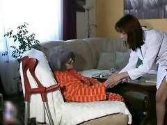 breasty nanny is showered by caregiver and