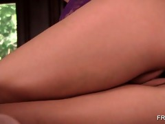 redhead temptress teasing her pink cum-hole on