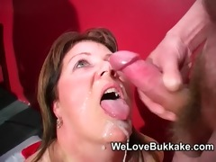 shooting cumshots into aged womans face hole