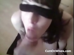 blindfolded wife facial