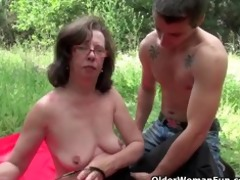 granny acquires her butthole invaded outdoors