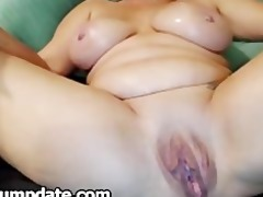 large breasted aged plays with her big bawdy cleft