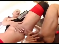 golden-haired secretary drilled in nylons and a