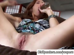 aged redhead copulates her snatch and butthole