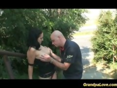 granddad fucking a fine brunette hottie and