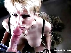 sexy older blond racquel works on cock