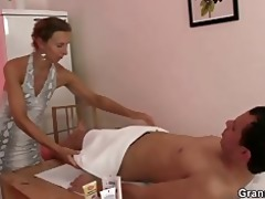 granny masseuse acquires her hairy aperture nailed