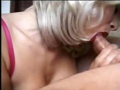 non-professional blond blowjob, deepthroat, facial