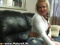 golden-haired old mamma showing of her large part9