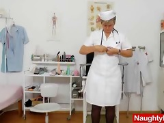 cougar masturbation with a medical-instrument in