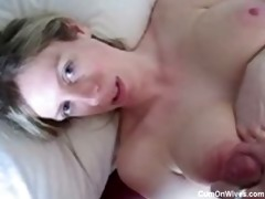 thick facial on this golden-haired wife