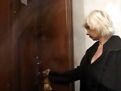 blond granny allows him drill her slit