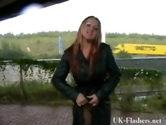 breasty dilettante wife urinates in public and