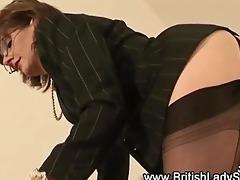 femdom older nylons wench gives footjob