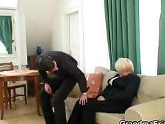 drunk granny is picked up and double screwed