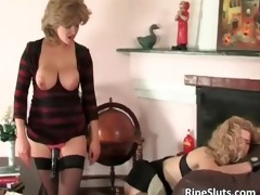 breasty mature bitch puts thong on marital-device