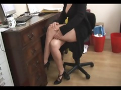 breasty aged blond secretary strips and widens