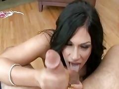 slim balls licking dark brown milf with natural
