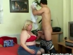 granny getting his jock hard with face hole and